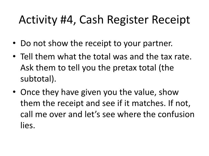 Activity 4 cash register receipt