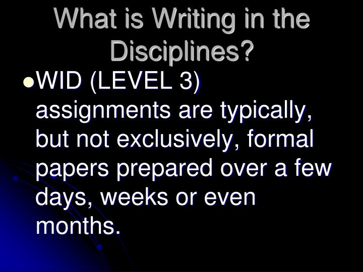 What is Writing in the Disciplines?