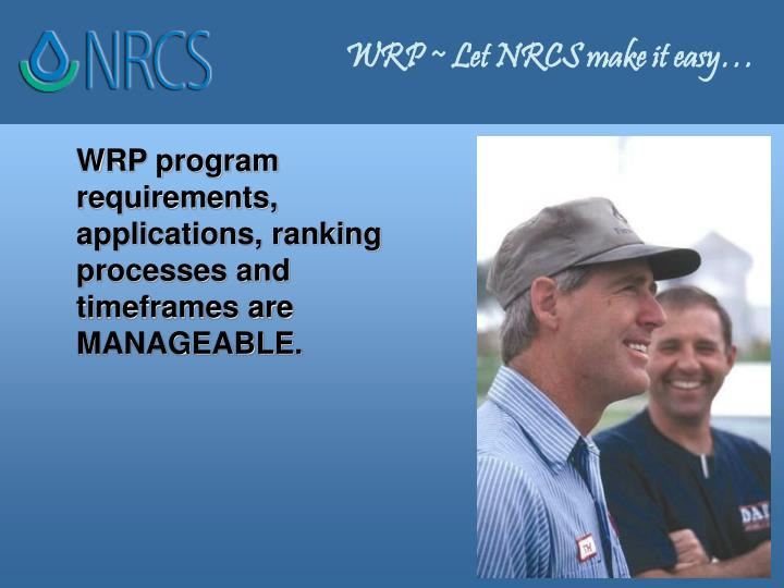 WRP ~ Let NRCS make it easy…