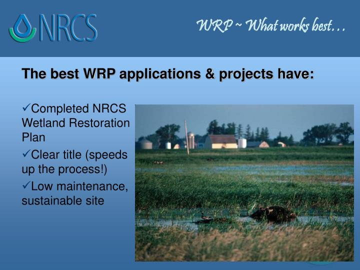 WRP ~ What works best…