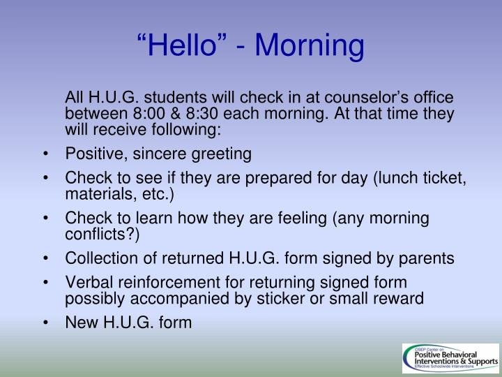 """Hello"" - Morning"