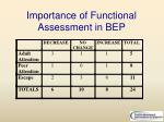 importance of functional assessment in bep