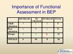 importance of functional assessment in bep1