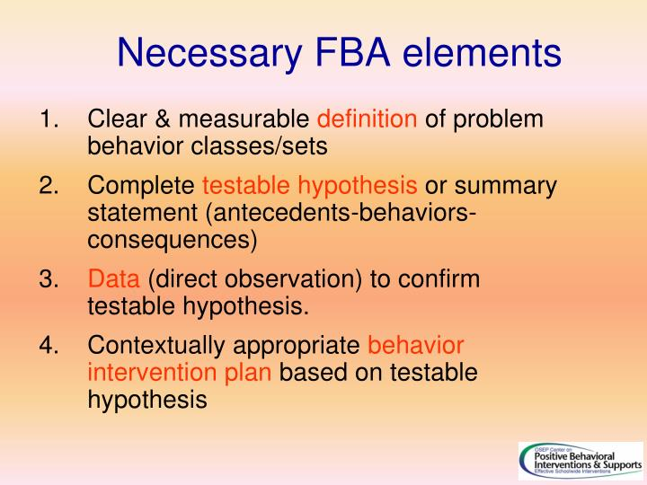 Necessary FBA elements
