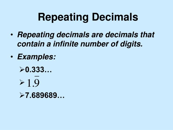 Repeating decimals