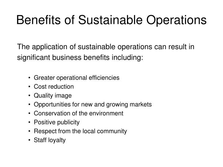 Benefits of Sustainable Operations
