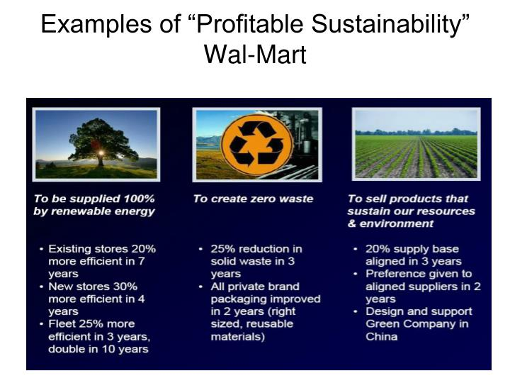 "Examples of ""Profitable Sustainability"" Wal-Mart"