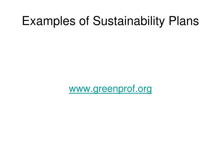 Examples of Sustainability Plans