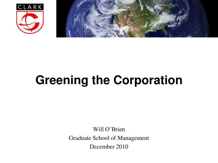 Greening the corporation