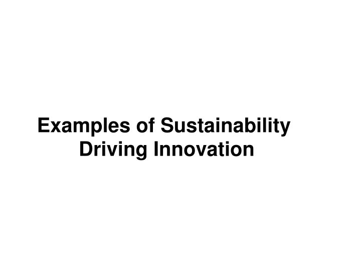 Examples of Sustainability
