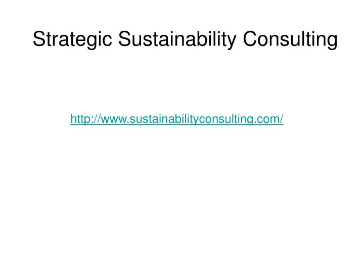 Strategic Sustainability Consulting