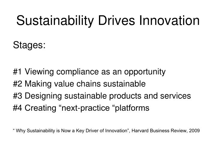 Sustainability Drives Innovation