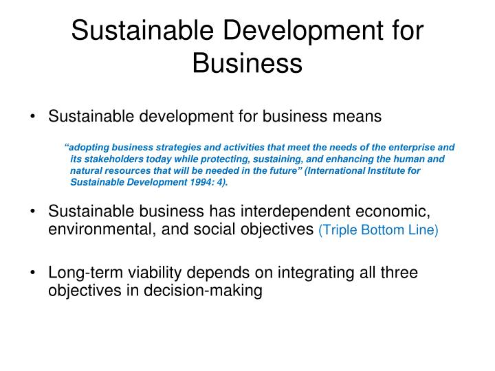 Sustainable Development for Business