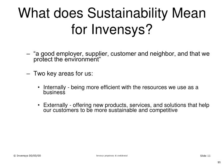 What does Sustainability Mean for Invensys?