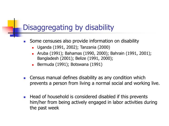 Disaggregating by disability