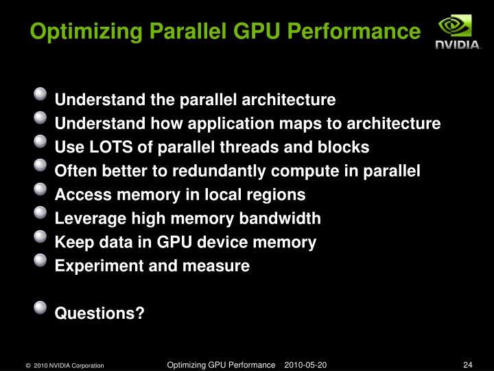 Optimizing Parallel GPU Performance