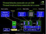 thread blocks execute on an sm thread instructions execute on a core