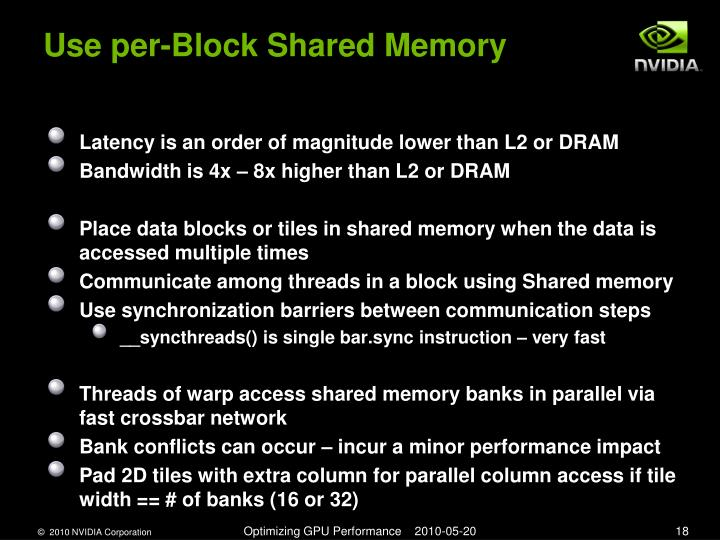 Use per-Block Shared Memory