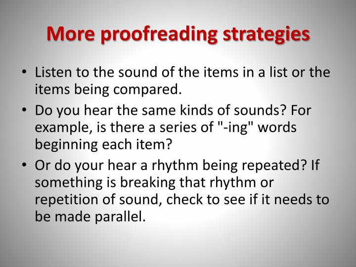 More proofreading strategies