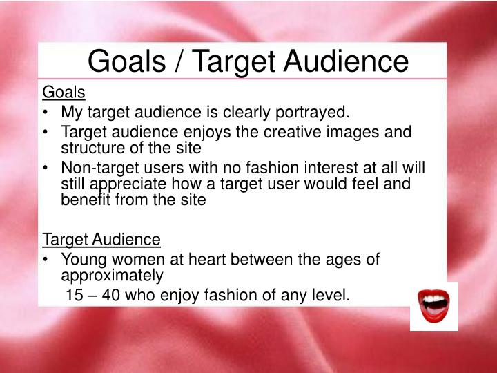 Goals target audience