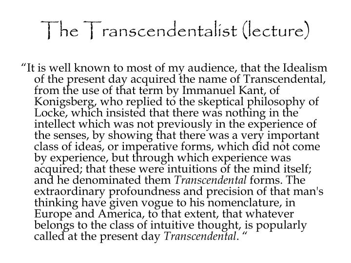 The Transcendentalist (lecture)