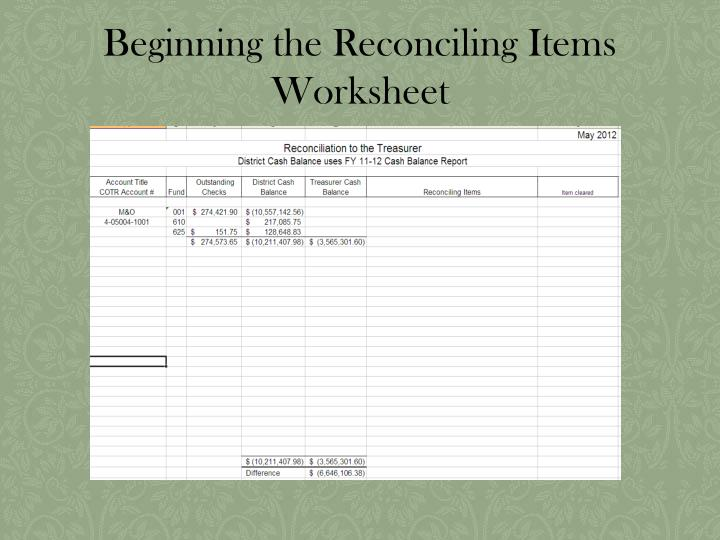 Beginning the Reconciling Items Worksheet