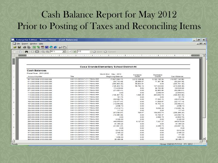 Cash Balance Report for May 2012