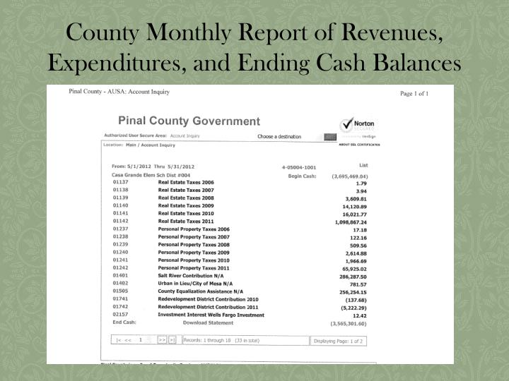 County Monthly Report of Revenues, Expenditures, and Ending Cash Balances