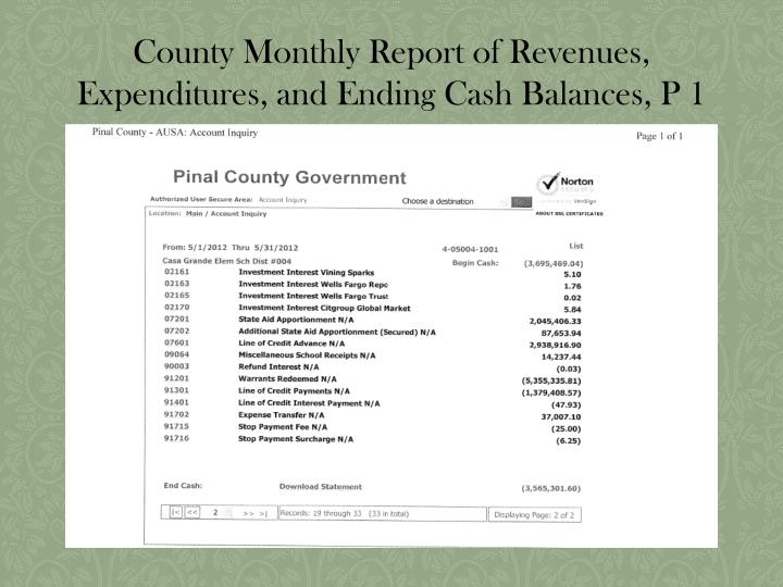 County Monthly Report of Revenues, Expenditures, and Ending Cash Balances, P 1