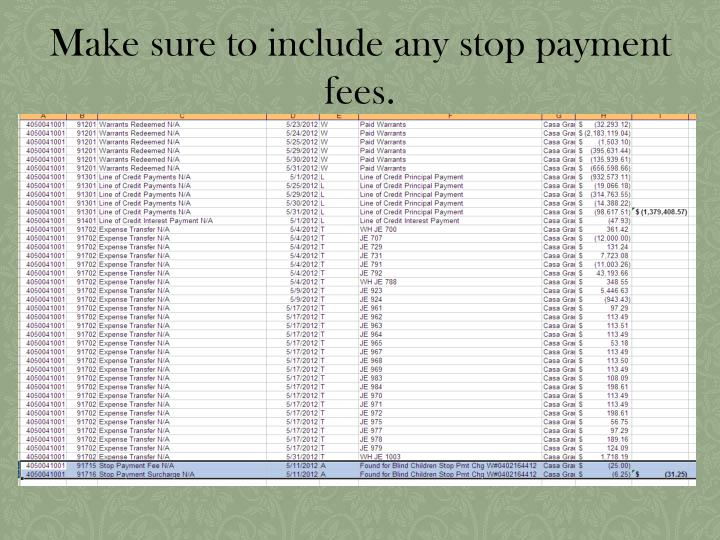Make sure to include any stop payment fees.