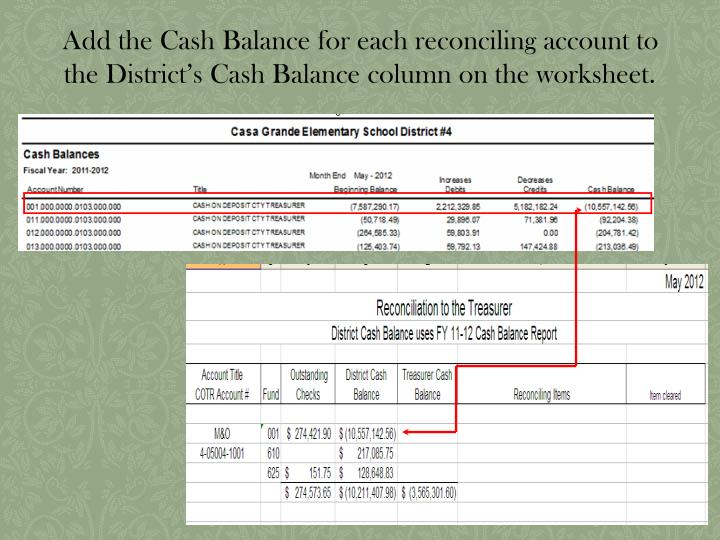 Add the Cash Balance for each reconciling account to the District's Cash Balance column on the worksheet.