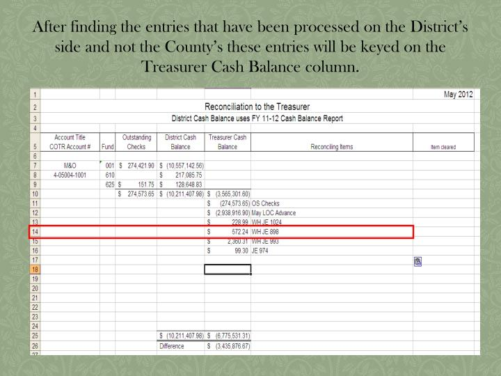After finding the entries that have been processed on the District's side and not the County's these entries will be keyed on the Treasurer Cash Balance column.