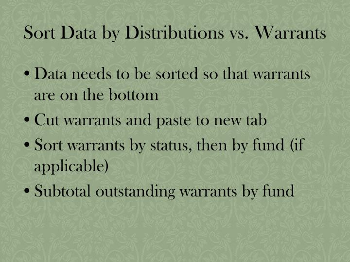 Sort Data by Distributions vs. Warrants