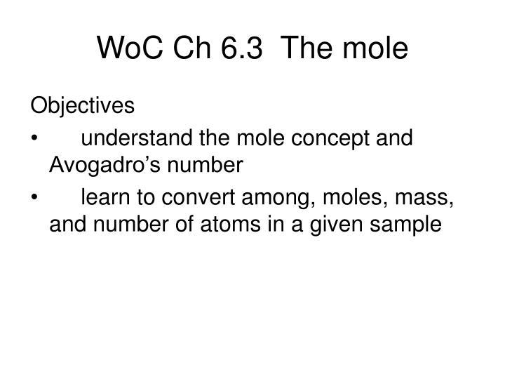 WoC Ch 6.3  The mole