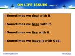 on life issues