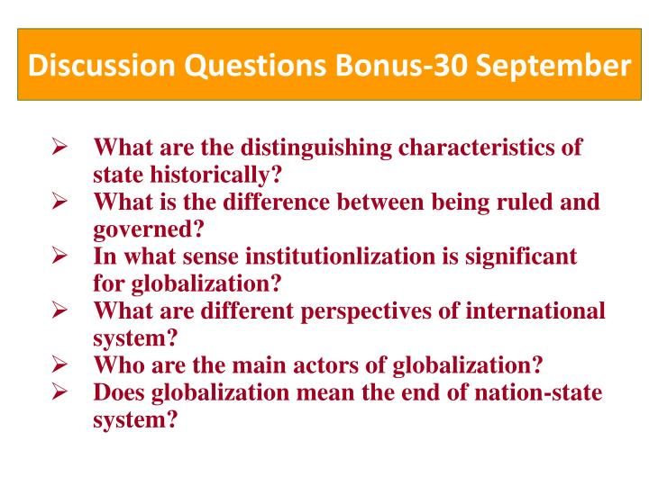 Discussion questions bonus 30 september