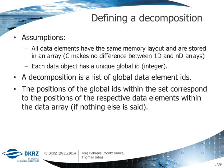 Defining a decomposition