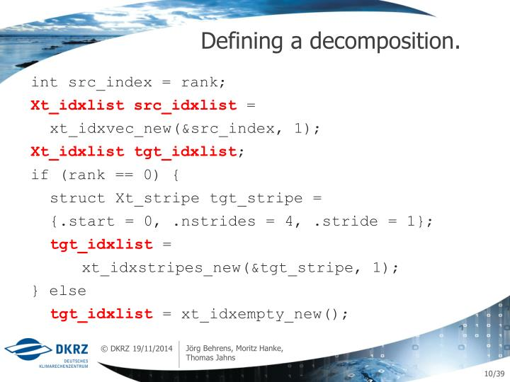 Defining a decomposition.