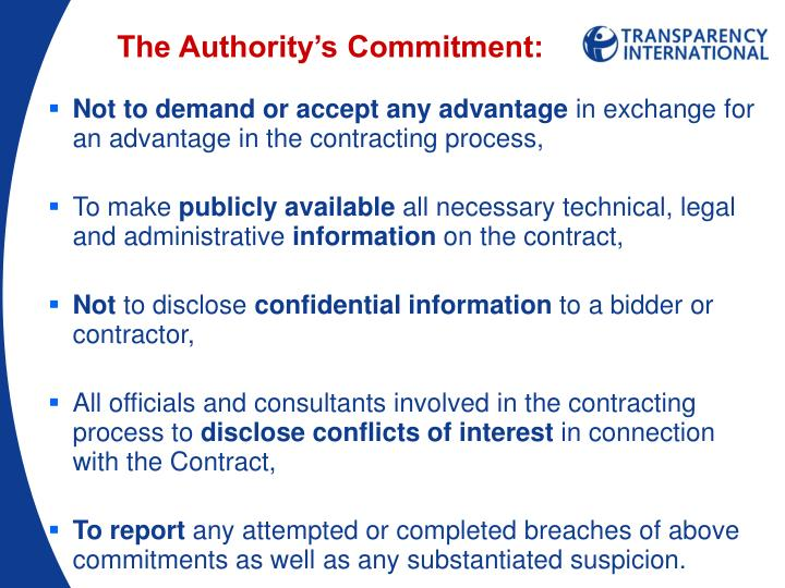 The Authority's Commitment: