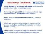 the authority s commitment