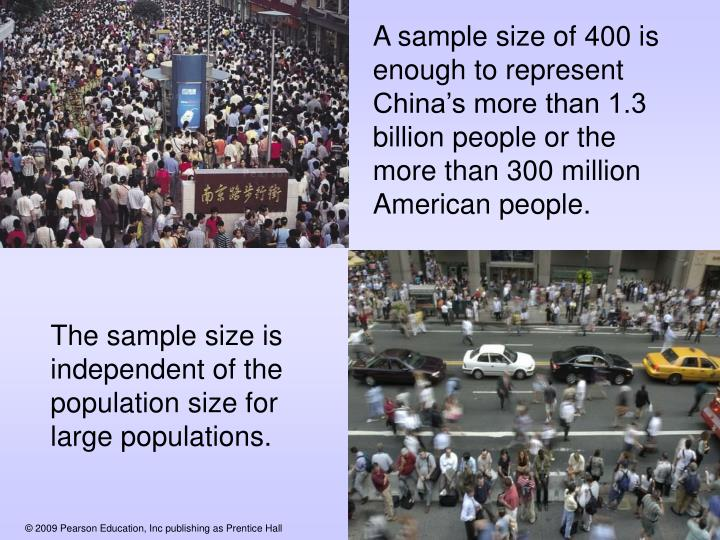 A sample size of 400 is enough to represent China's more than 1.3 billion people or the more than 300 million American people.