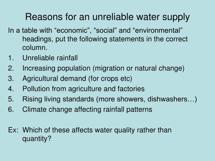 Reasons for an unreliable water supply