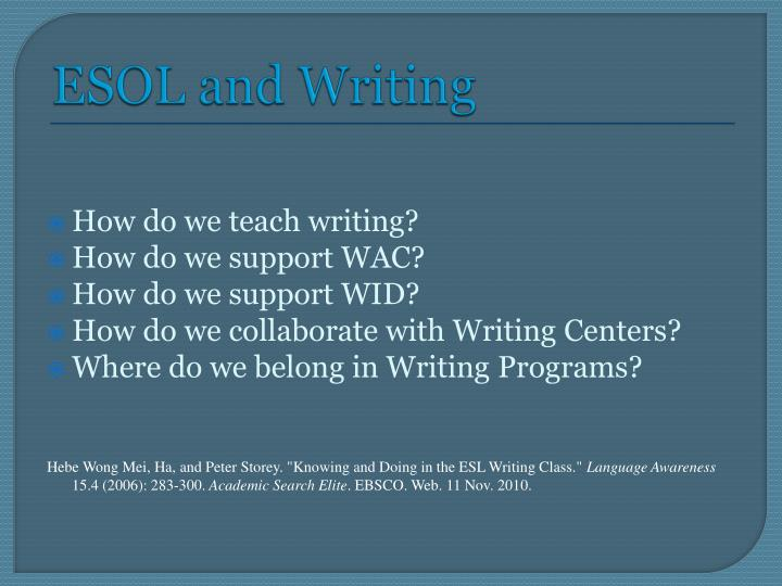ESOL and Writing
