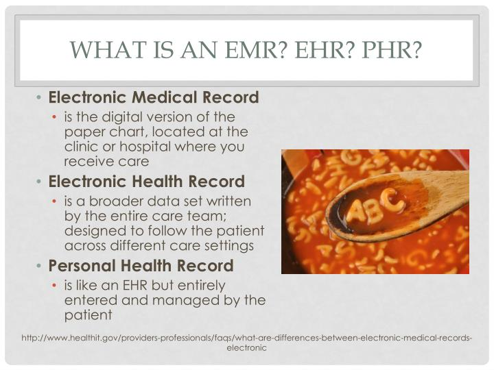 What is an emr ehr phr