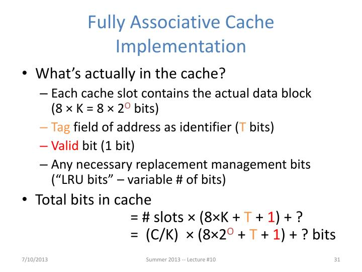 Fully Associative Cache Implementation
