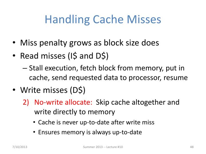 Handling Cache Misses