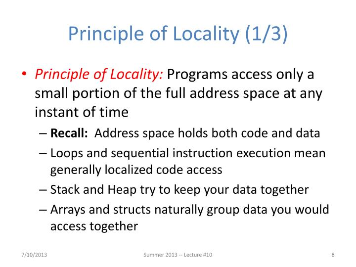 Principle of Locality (1/3)