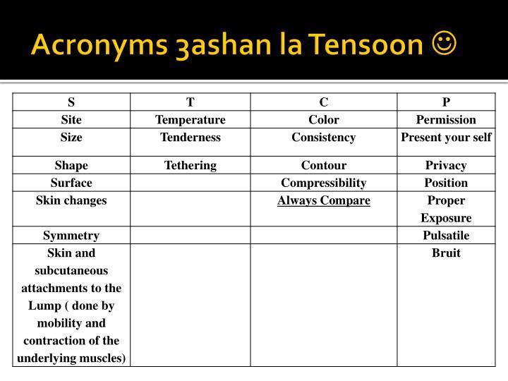 Acronyms 3ashan la