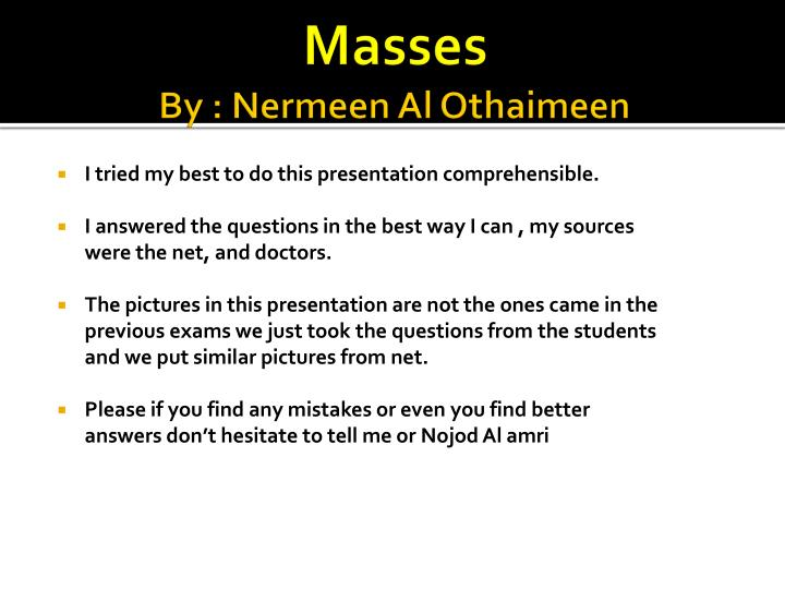Masses by nermeen al othaimeen