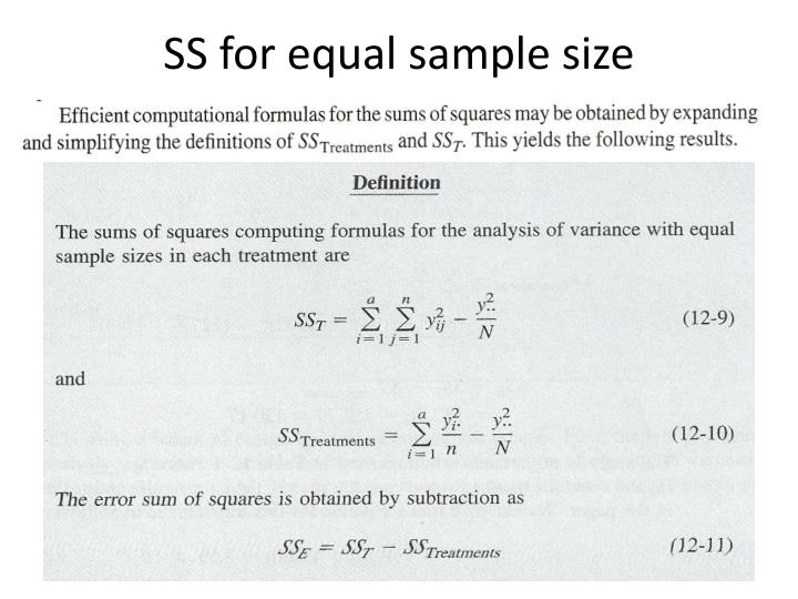 SS for equal sample size